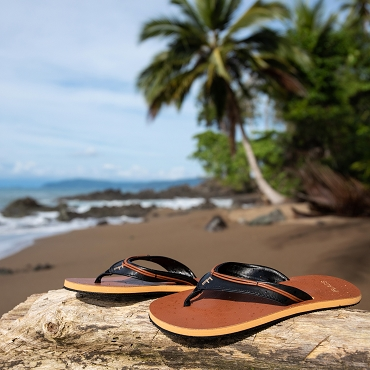 FLACS Turbo Aesthetic Vegan Leather Unisex Brown Flip Flops