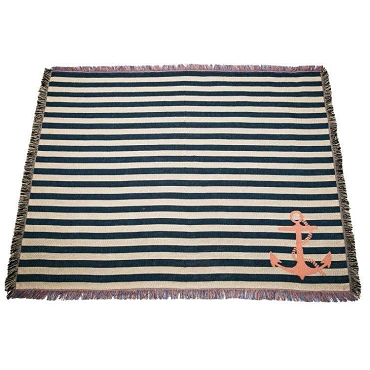Navy Anchor Stripe Throw Blanket, Super Soft, Quality